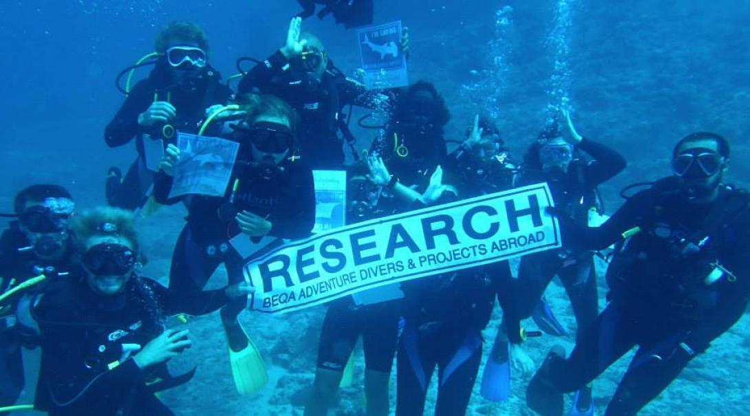 Voluntarios de conservación de tiburones en Fiyi sosteniendo un cartel durante su inmersión.